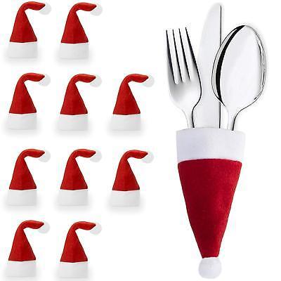Fino a 30 tasche portaposate natalizie cappello di babbo natale per pranzo cena