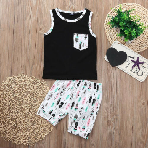 Toddler Baby Boy Sleeveless T-Shirt Vest Top+Shorts Pants Clothes Outfits Set CO