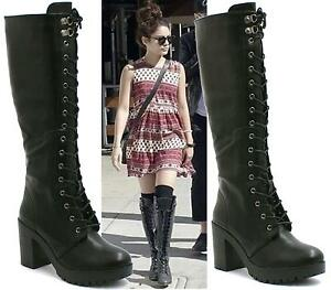LADIES-WOMENS-KNEE-HIGH-BLACK-LACE-UP-BIKER-PUNK-MILITARY-COMBAT-BOOTS-SHOES