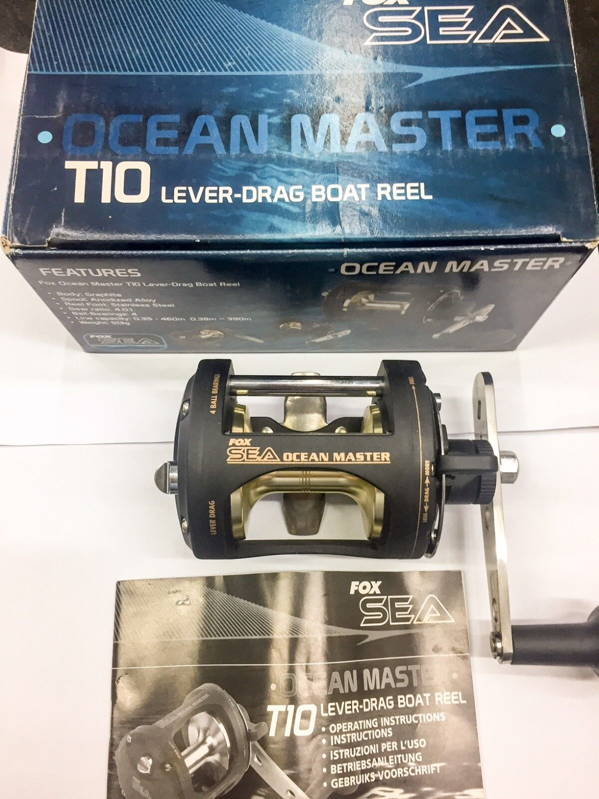 FOX SEA OCEAN MASTER T10 MULTIPLIER REEL RIGHT HANDLE  LEVER DRAG VINTAGE RAREST