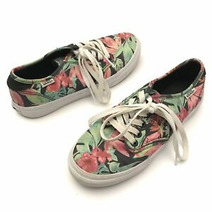 a2276863ad96e4 Vans Womens 6 Classic Skate Hawaiian Flower Print Lace Up Sneakers ...