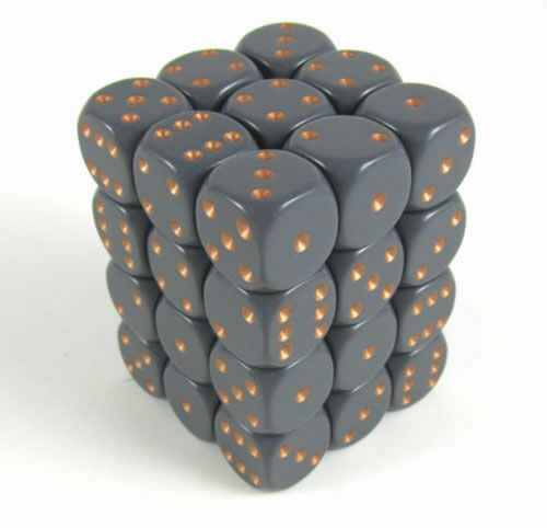 Set 36 d6 Dadi CHESSEX Opaque Grey copper 25820 Dice Block Grigio rame CHX