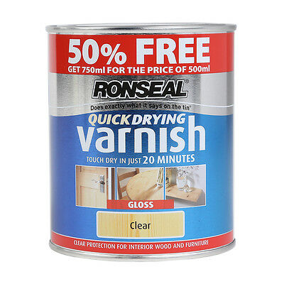 Ronseal Quick Dry Varnish - Wood & Furniture Paint - Clear Gloss 750ml