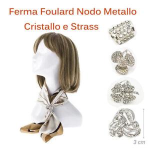 FERMA-FOULARD-Colore-ARGENTO-moda-DONNA-FIORE-Cristalli-e-Strass-idea-regalo