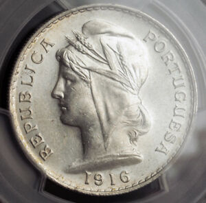 1916-Portugal-Republic-Beautiful-Silver-50-Centavos-Coin-PCGS-MS-61