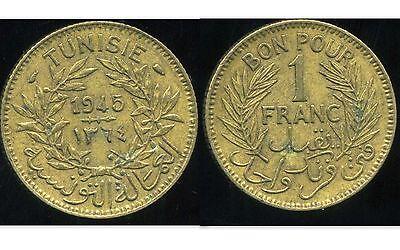 Krachtig Tunisie 1 Franc 1945 ( Bis )