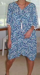 PLUS-SIZE-Blue-Ikat-12-26-Kaftans-Beach-to-Bar-Cold-Shoulder-Tassel-Top-DRESS