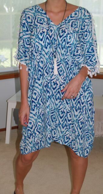 PLUS+SIZE Blue Ikat 12-26 Kaftans+ Beach to Bar+Cold Shoulder Tassel+Top/DRESS