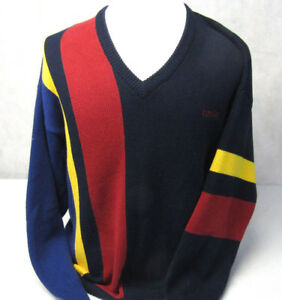 Izod-Colorful-Geometric-Cotton-Knit-Long-Sleeve-Pullover-V-Neck-Sweater-Mens-L