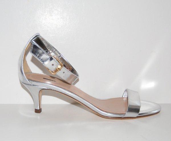 J.Crew Mirror Metallic Kitten-Heel Sandales Heels #a0827 Silver 5.5 188