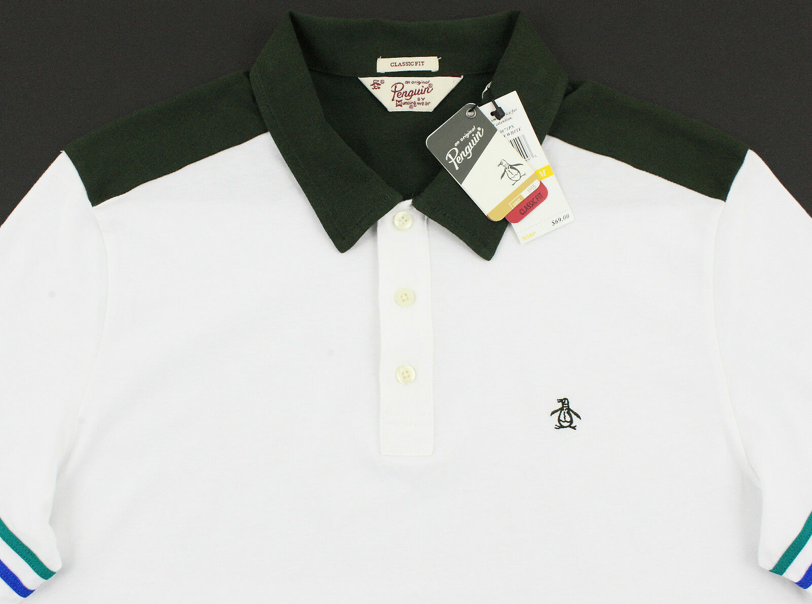Men's PENGUIN White Green Polo Shirt Small S NWT NEW Classic Fit Nice