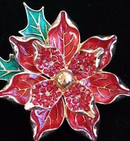Napier Gold Red Rhinestone Christmas Poinsettia Flower Pin Brooch Jewelry 3d