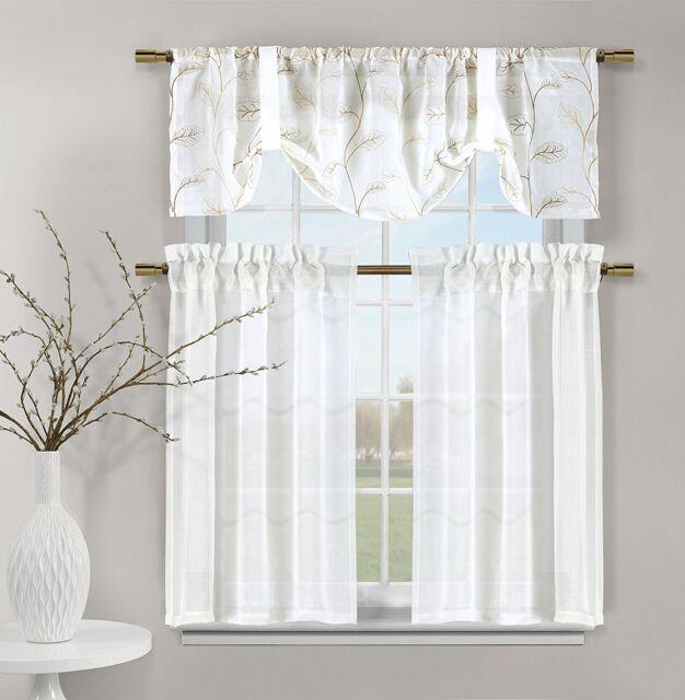 White Videira Gold Leaf Embroidery Kitchen Curtain Set