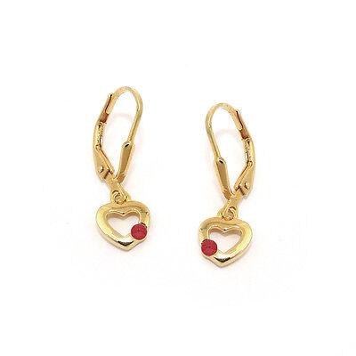 Echt Gold 333 Mädchen rosa Herz Ohrpendel Ohrstecker mit Stein Kinder Ohrringe