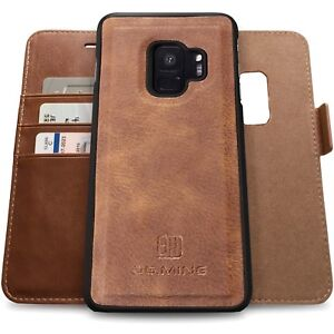 best loved b0e70 c0862 Details about Galaxy S9 Plus Genuine Leather Case,Vintage Wallet Folding  Flip Protective Cover