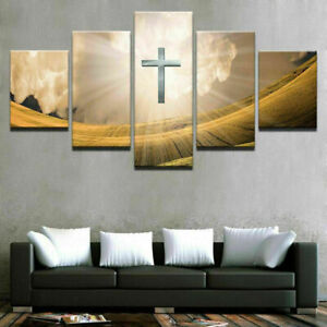 Light-Cross-Of-Jesus-Christ-5-Pieces-Canvas-Wall-Art-Poster-Print-Home-Decor