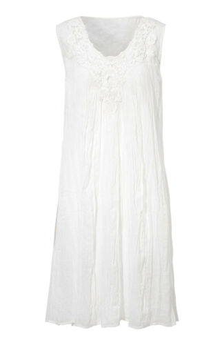 UK Sizes 8-22 Ladies White Cotton Sleeveless Broderie Anglaise Lined Summer Sun