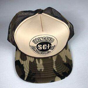 Springfield Double Snapback Hat VTG Rope Cap Foam Front SCI Contractors Camo Men