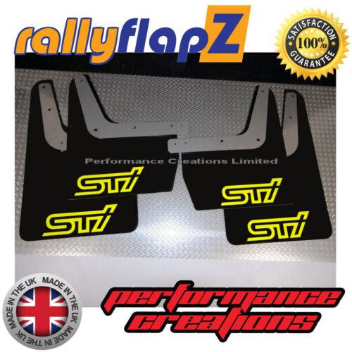 Qty4 Subaru Impreza Classic 93-01 Bavette 4 mm PVC Noir STi Style Logo Jaune