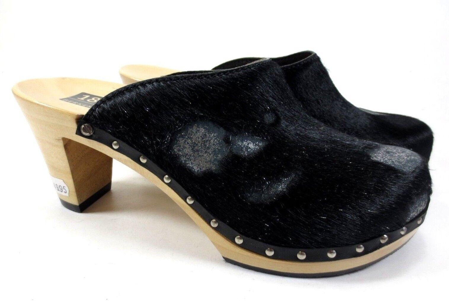 BERKEMANN Miley CLOGS Leder Holz Pantoletten black Kuhfell Fell NEU 149,95