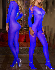 Sultry Sexy Coverall Fishnet Bodystocking Crotchless Lingerie Catsuit Blue 8-14