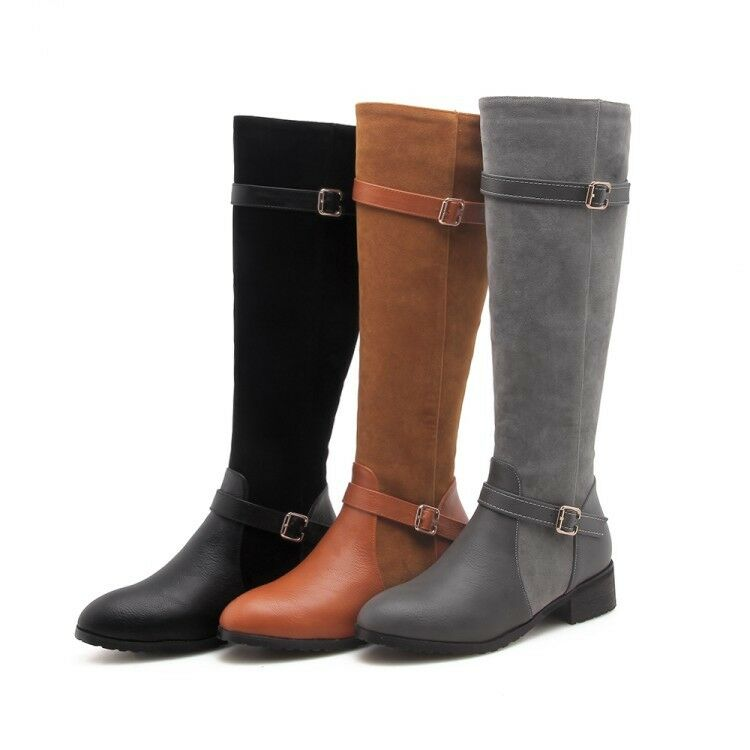 Punk Women Round Toe Buckle Strap Knee High Heels Knight Boots Shoes Plus sz e33