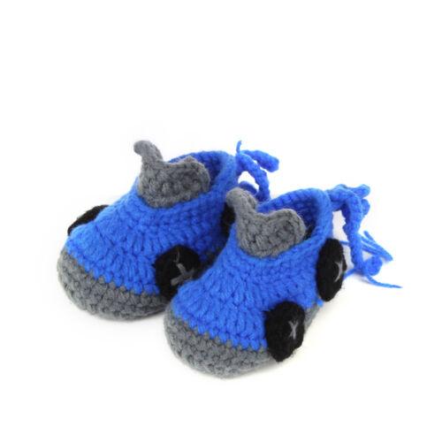 6M Handmade Baby Infant Boy Car Crochet Knit Booties Crib Slipper Shoes Newborn