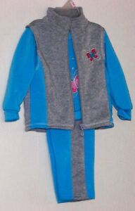 Girl-039-s-Vest-Sweatshirt-Pants-3pc-Set-12M-18M-24M-Fleece-NWT-Blue-Gray-by-2b-Real
