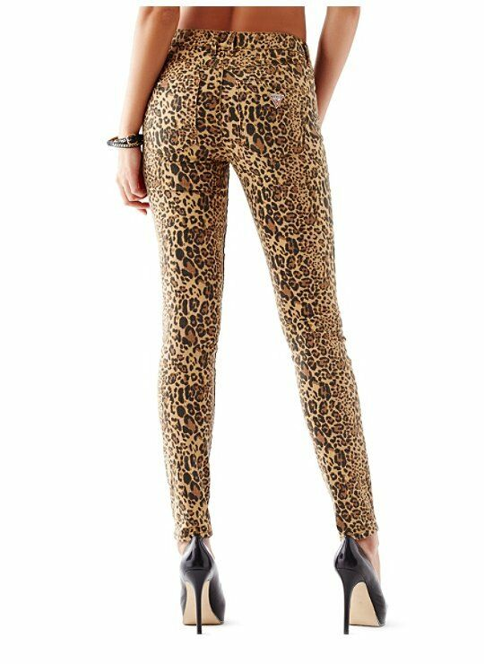 GUESS Women's 1981 High-Rise Skinny Jeans with Drew Leopard Print sz 23