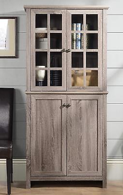 Farmhouse Gray Kitchen China Storage Cabinet Pantry Glass Doors Reclaimed  Wood 719574745131 | eBay