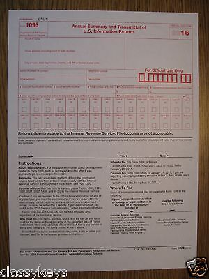 2016 Irs Tax Form 1096 Annual Summary And Transmittal For 1099s To
