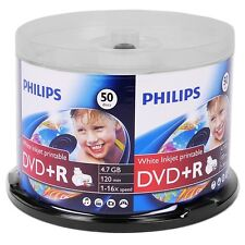 50 Piece Spindle Philips 16x 4.7GB 120-Minute DVD+R Inkjet Printable Media