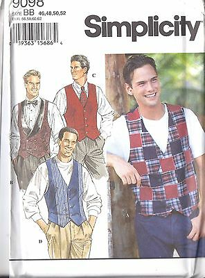 UNCUT Vintage Simplicity Sewing Pattern Mens Set of Lined Vests 9098 OOP NEW FF