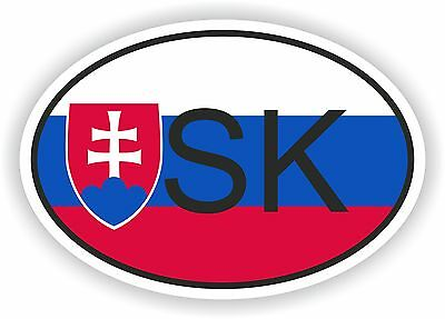 SK SLOVAKIA COUNTRY CODE OVAL WITH FLAG STICKER bumper decal car helmet laptop