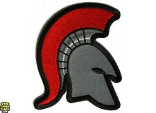 Spartan Helmet Red Mohawk Firefighter Iron On Patch 3 x 3.5 inch Free Ship P5285