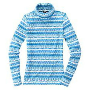 VANCL-Fair-Isle-Polar-Fleece-Turtleneck-Women-039-s-Lake-Blue-Medium-NWT