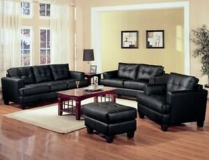 Samuel Contemporary Bonded Leather 2Pc Set Sofa & Loveseat Black Furniture Couch
