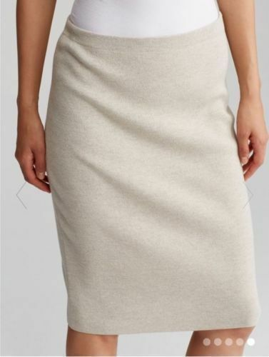 BNWT EILEEN FISHER Washable Wool Crepe SEA SALT Straight K L Skirt SMALL S