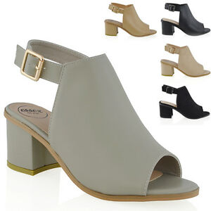 Womens-Low-Heel-Peep-Toe-Buckle-Mule-Ladies-Open-Back-Strap-Ankle-Shoe-Boots