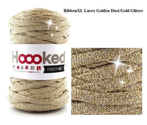 Lurex Gold /& Schwarz` Neu Glitzer Textilgarn Silber Grau Hoooked `Ribbon XL