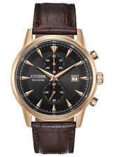 Citizen Eco-Drive Men's Chronograph Rose Gold Tone 43mm Watch CA7003-06E
