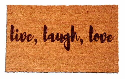 100/% Natural Coir Fiber Live Love Laugh Laser Engraved Welcome Mat