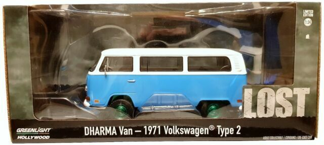 VW T2 B Bus 1971 Dharma Lost Blue White Model Car 1:24 Greenlight Collectibles