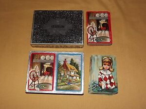 VINTAGE CONGRESS  ENCHANTING 2 DECKS US PLAYING CARD CO FIRESIDE & LITTLE GIRL