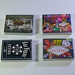 Lot-of-4-x-Different-Styles-Brand-New-Sealed-LAS-VEGAS-PLAYING-CARDS