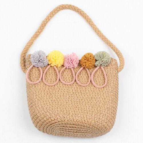 UK Kids Straw Rattan Shoulder HandBag Children Cross Body Bag Wallet Xmas Gift
