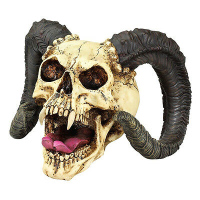 Gothic Curled Horns Forked Tongue Vampire Fanged Skull Sculpture
