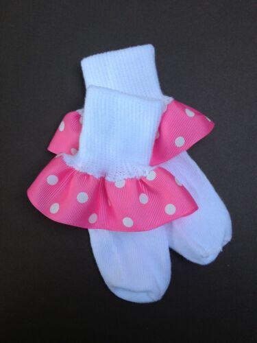 Girls Ruffle Socks Girls Socks Pink with White Polka Dots Girls Ruffle Socks