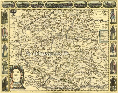 Bohemia Replica Old John Speed Map  c.1626 ALL Hand Coloured UNIQUE GIFT