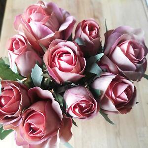 Details Zu 9 Rosen Rosenstrauß Kunstblume Künstlicher Strauß Rosa Apricot Seidenblumen